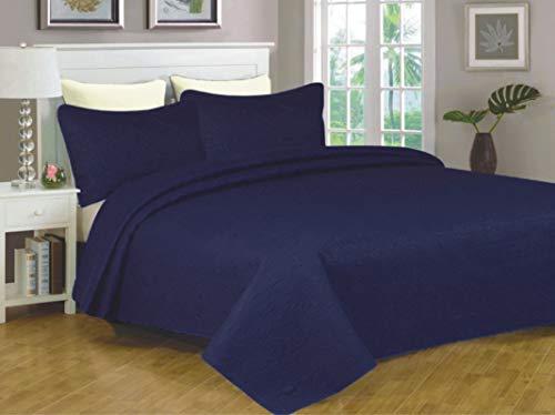 Sapphire Home 2-teiliges Twin-XL-Tagesdecke-Bettwäsche-Set mit 1 Kissenhülle, weiche Haptik, einfarbig, stilvoll geprägtes Muster, Ganzjahreszeiten-Übergröße, Bettdecke, Emma Twin, Königsblau