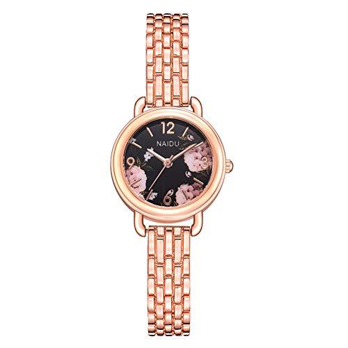 Reloj de pulsera analógico de cuarzo con correa de aleación de lujo casual para mujer (# 1)