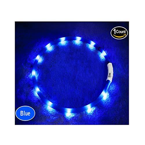 LED光る首輪, USB 再充電 ドッグ カラー 12個のLEDライト [500m先から目視可能] ペット 夜間 安全性 [3種類のライトモードを搭載] 防水 スモール ミディアム ラージ [複数色ご用意] (青)