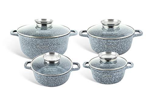 EDENBERG eb-8035. Set 4 x Granit-Töpfe mit Deckel, hitzebeständig. Ideal für Gas-, Elektro-, Halogen-, Keramik- und Induktionsherde.