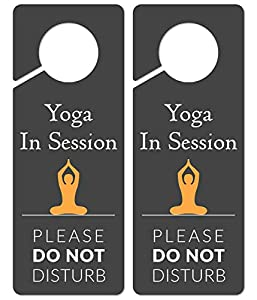 Do Not Disturb Door Hanger Sign, 2 Pack, Please Do Not Disturb Sign, Yoga in Session