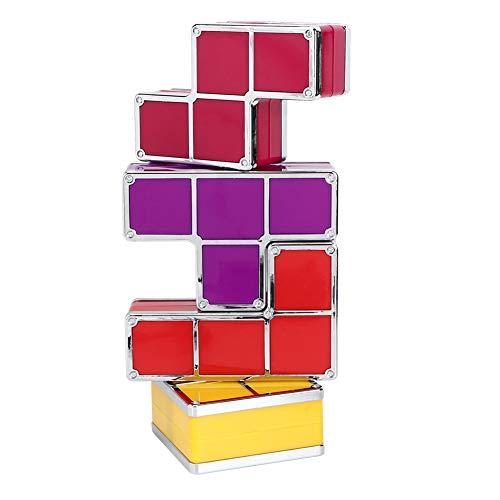 Duokon Puzzle Fai da Te impilabile a LED colorato Luce scrivania Lampada da Notte Blocco Costruzione Gioco Decorazione Regali di Natale Tetris Splicing Luce Notturna 100-240V(EU Plug)