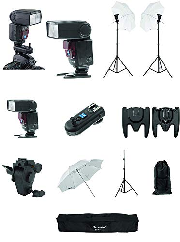 Sonia Camera Flash Speedlight VT631RF Kit for DSLR Cameras GN 42 Combo Camera Flash with Built in Radio Trigger/Transmitter Light Stand and Umbrella Sungun/Flash Adapter White Umbrella Kit Bag