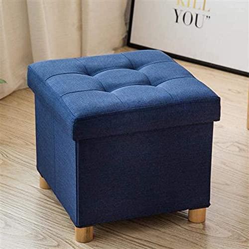 Otomana de almacenamiento plegable, taburete con reposapiés acolchado en forma de cubo, mesa de centro con bandeja Asiento de reposapiés portátil para sala de estar dormitorio (Azul-38 * 38 * 35cm)