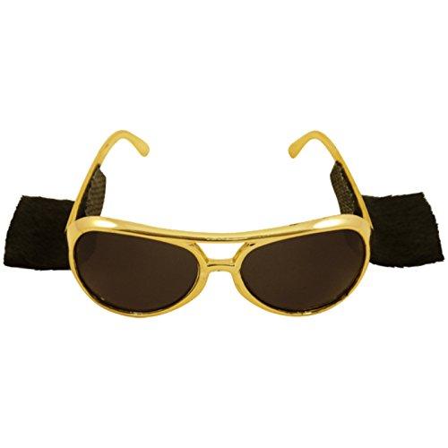 Rockstarbrille mit Koteletten Brille Sonnenbrille für Kostüm Fasching King Kingbrille Komplettbrille