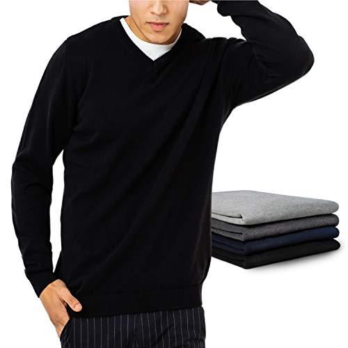 ZENAPHYR Herren Pullover V-Ausschnitt - 100% Baumwolle - Pullover Herren ohne Kapuze - Cardigan Herren Schwarz- Pulli Größe Medium - Sweatshirt Langarmshirt Herren Kleidung