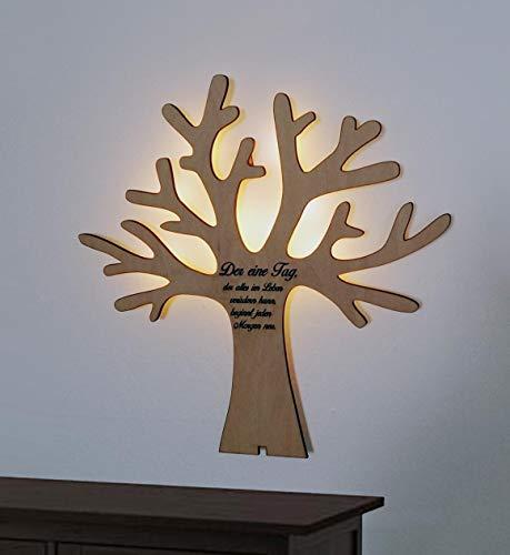 kh Teile Wanddeko Baum Echt-Holz Wandschmuck Wandbild 3D Zitat Spruch mit Led Licht, 45 cm