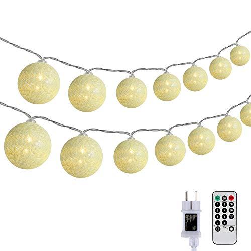 DeepDream Kugeln Lichterkette 5m 20 LED Cotton Ball Lichterkette Dimmbar Baumwollkugeln Lichterkette Innen Lichterkette mit Fernbedienung und Timer für Zimmer Kinderzimmer Hochzeit Party (Warmweiß)