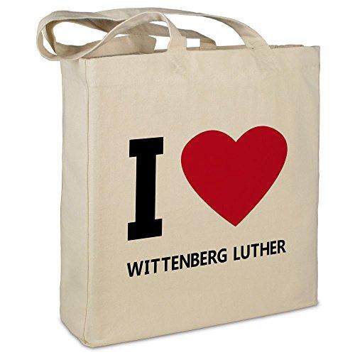 """Stofftasche mit Stadt/Ort \""""Wittenberg Luther\"""" - Motiv I Love - Farbe beige - Stoffbeutel, Jutebeutel, Einkaufstasche, Beutel"""