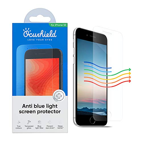 Ocushield Displayschutz aus gehärtetem Glas für Apple iPhone SE – akkreditiertes medizinisches Gerät – schützt Ihre Augen für besseren Schlaf