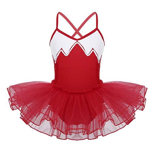 ranrann Vestido Maillot de Ballet para Niña Lentejuelas Vestido Tutú de Danza Clásica Leotardo de Gimnasia Patinaje Artístico Disfraz Traje Bailarina Fiesta Rojo 6-7 Años