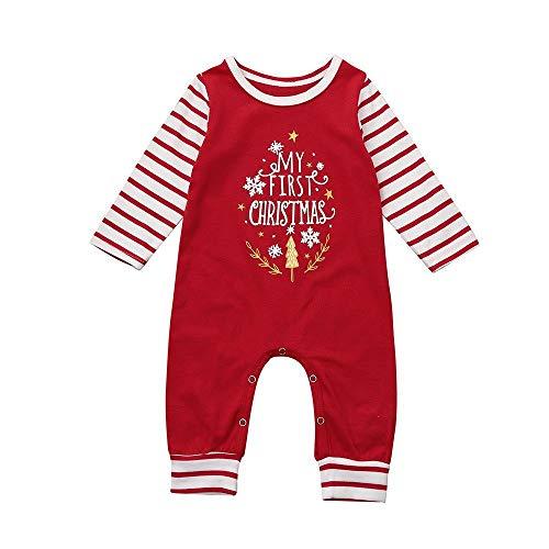 Kerstmis Baby Romper,0-18 Maanden Pasgeboren Baby Kids Jumpsuit Peuter Jongens Meisjes Rood Lange Mouw Bodysuit 12-18Months