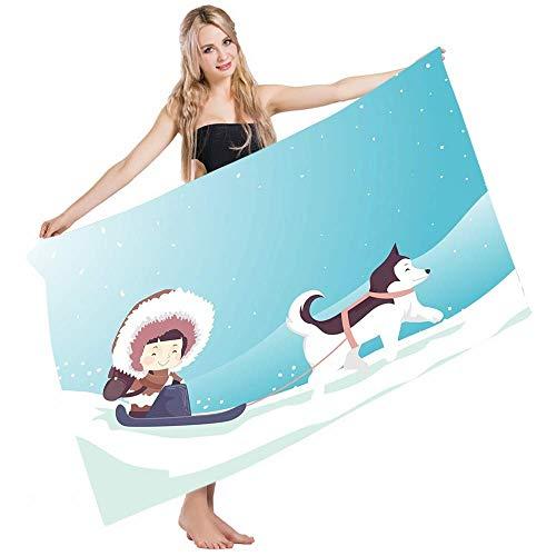 Duschtücher,Bad Waschlappen,Absorbent Strandbadetuch,Saugfähiges Badetuch,Pooltuch Handtuch,Husky Little Eskimo Girl Trägt Einen Dicken Parka Auf Einem Schlitten, Der Von Einem Husky Auf Schnee Gezo