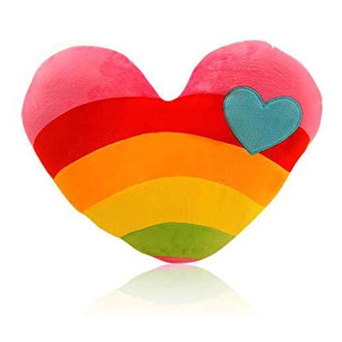 Cuscino in peluche a forma di cuore, 38 cm, morbido peluche decorativo, a forma di cuore, per regali, coppie, multicolore (cuore)