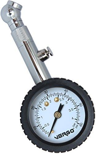 VERGO Reifendruckmesser – Dual Scale 0-60 PSI / 0-4 BAR, 360 Einstellbar schwenken – Druckhalte und Reset-Taste