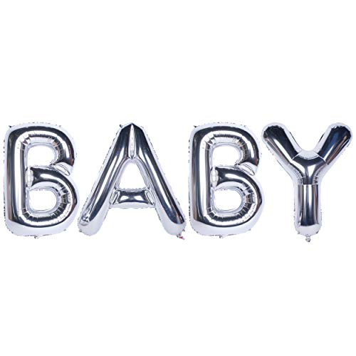 Letter Balloons BABY 40 Inch Giant Jumbo Helium Foil Mylar for Party Decorations Silver