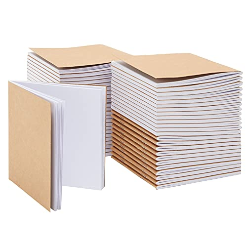 Paper Junkie Kraft Notebook (48-Pack) - Unlined Blank Books Travel Journals for Students School Children Brown 24 Sheets 4.1 x 4.2 Inches (10.4 x 10.7 cm) [Office_Product]