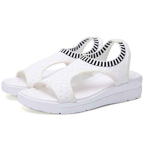 2020 Sandalen Damen Mode atmungsaktive Bequeme Damen Sandalen Sommerschuhe Keil schwarz weiße Sandalen tragen widerstandsfähige Schuhe mit niedrigen Absätzen