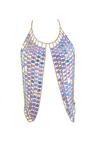Women's Sexy Harness Waist Bikini Chain Bra Body Chain Shoulder Necklace for Women Color Sequin (Blue)