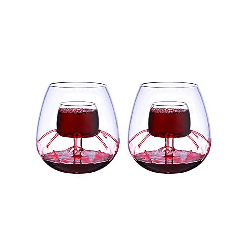 ZIUKENR Copas de vino aireadas sin tallo de cristal Molecular Gastronomía Bar Bartender cerveza copas de vino enfriador (juego de 2)
