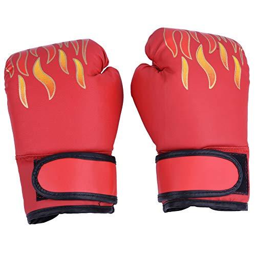 Tbest Kinder Boxhandschuhe MMA Handschuhe PU Leder Junior Kampfkunst Muay Thai Boxing Training Kampf Sparring Punching Kickboxen Grappling Sandsack Handschuhe für Männer Frauen Kinder(Rot)