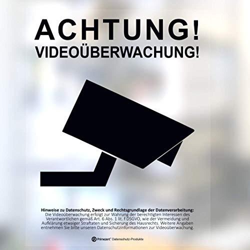 5X DSGVO+BDSG Datenschutz-Aufkleber-Schild Info-Aushang Video-Überwachung transparent DIN A6