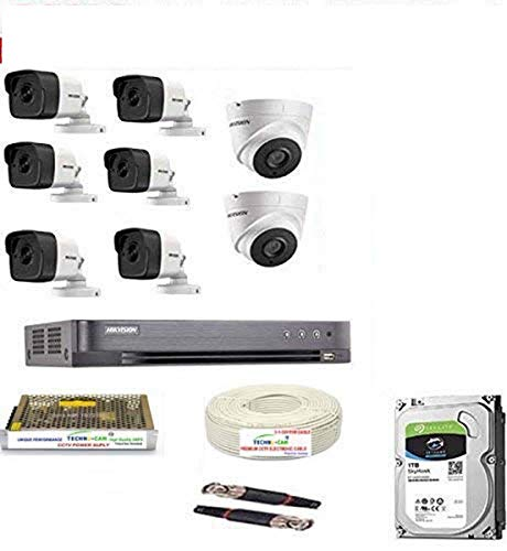 HIKVISION Full HD 5MP Cameras Combo KIT 8CH HD DVR+ 6 Bullet Cameras + 2 Dome Cameras+2TB Hard DISC+...