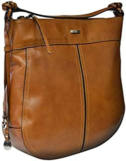 Kaizer KNI1871TAN Leather Shoulder Bag for Women - Brown