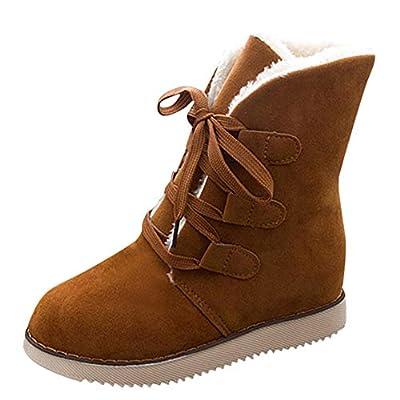 HAALIFE ??Women's Comfort Woolen Yarn Woven Bootie Slippers Memory Foam Plush Lining Slip-on Chunky Heels Booties Brown