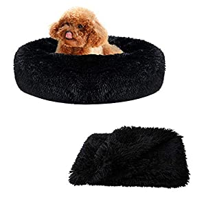 Patas Lague 2-Piece Donut Calming Dog Bed Set (1 Bed, 1 Blanket), Faux Fur Plush Cat Pet Bed, Comfortable and Washable, (20 inches, Black)