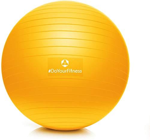 #DoYourFitness® Gymnastikball inkl. & Luftpumpe | 55cm 65cm 75cm o. 85cm | 100% Berstsicher - 150kg Belastbarkeit - robuster Sitzball, Bürostuhl, Fitnessball 75cm Sonnengelb