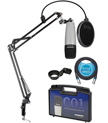 Samson C01 Large-Diaphragm Condenser Microphone for Recording Vocals, Acoustic Instruments, Overhead Drums Bundle with Blucoil Boom Arm Plus Pop Filter, and 10-FT Balanced XLR Cable