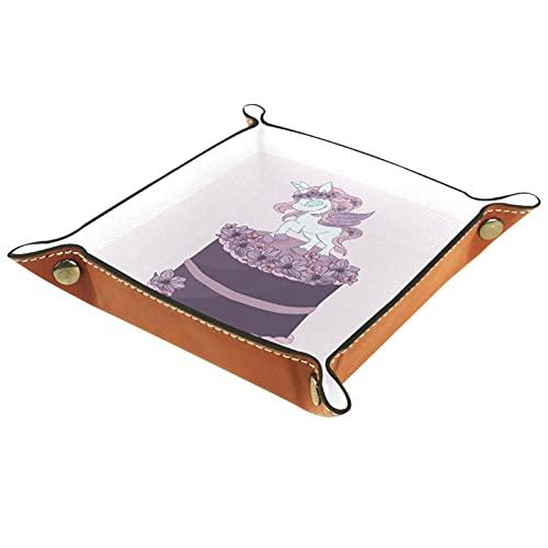 Organisateur De Vanité Carré Plateau Décoratif Plateau De Vanité Marquer Le Plateau De Bijoux Pour La Décoration Intérieure Gâteau Licorne Violette 16x16cm