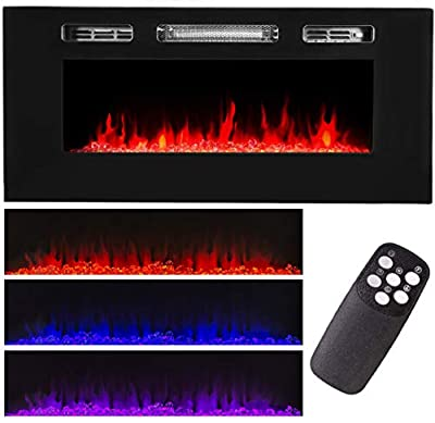 XtremepowerUS Recessed Electric Fireplace in-Wall Wall Mounted Electric Heater Fireplace 750W 1500W
