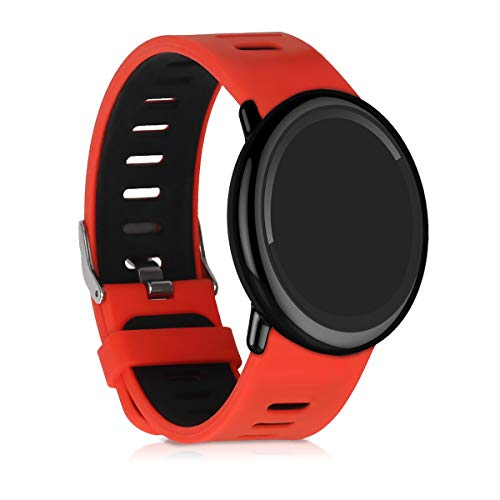 kwmobile Pulsera Compatible con Xiaomi Huami Amazfit -  Brazalete de Silicona en Rojo/Negro sin Fitness Tracker