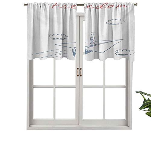 Hiiiman Cenefa de papel opaco de alta calidad con bolsillo para barra, diseño de dibujos animados, juego de 2, 137 x 61 cm, paneles opacos decorativos para el hogar para dormitorio