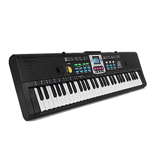 Tomshin 61 Chaves Música Digital Teclado Eletrônico Crianças Piano Elétrico Multifuncional para Estudante de Piano com Função de Microfone Instrumento Musical