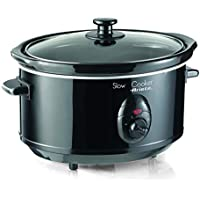 Ariete 2903 - Olla de cocción lenta con tapa de cristal templado, capacidad 3.5 litros, 4 configuraciones de temperatura, 240 W, acero inoxidable, color negro