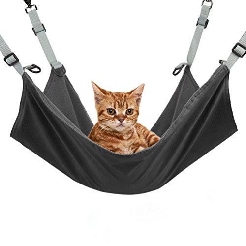 NuoYo Hamaca de Gato Gato Silla de la Hamaca Reversible Uso de 2 Caras con 4 Ganchos de Metal para Verano Invierno 53×36cm Negro