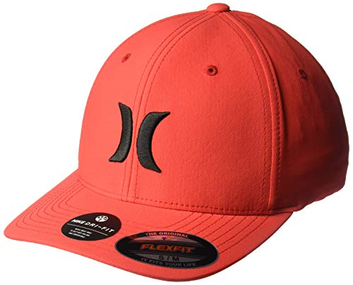 Hurley Men's Dr-Fit One & Only Flexfit Baseball Cap, Speed red/(Black), L-XL
