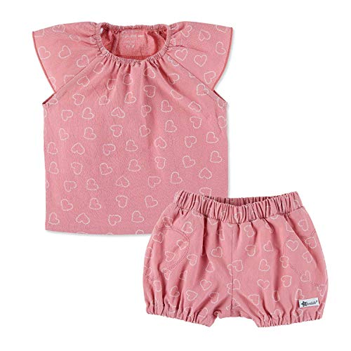 Sterntaler Mädchen Set mit Bluse und kurzer Hose, Mit elastischem Hüftbund und Herz-Muster, Alter: 4-5 Monate, Größe: 62, Rosa