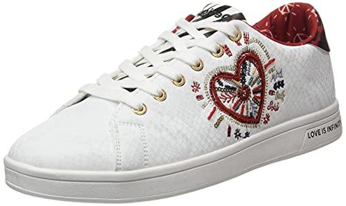 Desigual Shoes_Cosmic_Heart, Zapatillas Mujer, Blanco, 38 EU