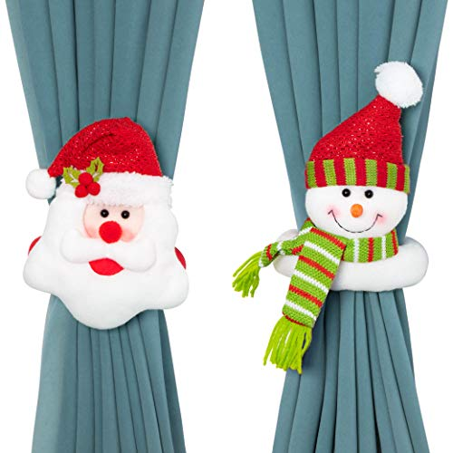 Seagoodbye 2PCS Christmas Curtain Buckles Tiebacks Decorations - Santa Claus Holdback Decor Snowman Drapes Holder for Home Window Xmas Ornaments Gift