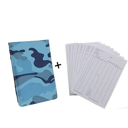 kofull Golf Scorekartenhalter Yardage Book Cover mit Nylon-PocketBook-Kartenhalter accessories-free mit 2Holz-Bleistift mit Scorecard, blau