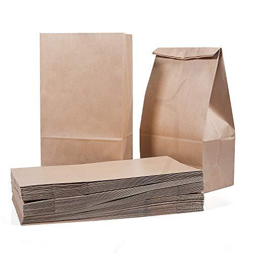 Vordas 50 Sacchetti di Carta con Fondo 28 x 15 x 8.5 cm - 70 g./m2, Sacchetti di Carta per Alimenti Natalizi, Ideali per Confezionare Pane, Pizze, Dolci, Confetti, Caramelle ed Articoli da Forno