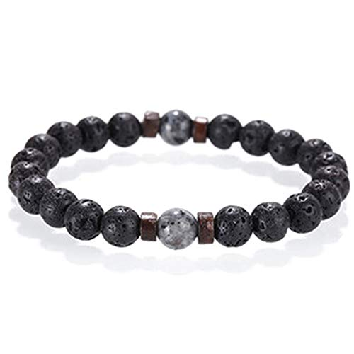 niumanery Black Volcanic Lava Stone Essential Oil Diffuser Bracelet Fashion Jewelry Unisex 4#
