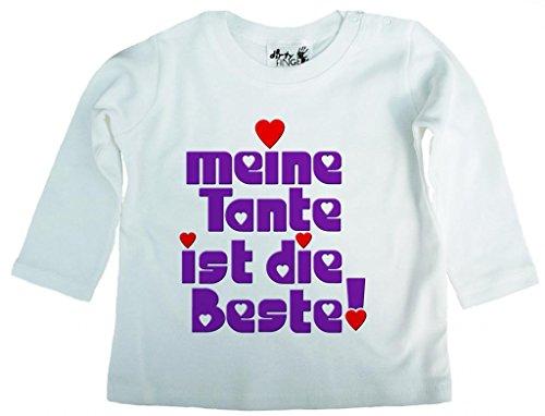 Dirty Fingers Dirty Fingers, Meine Tante ist die Beste!, Mädchen T-Shirt langärmlig, 2-3 Jahre, Wei?