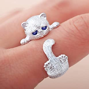 Customer reviews Yesiidor Cat Ring Cute Animal Shape Opening Ring Women Ring Jewellery Accessories