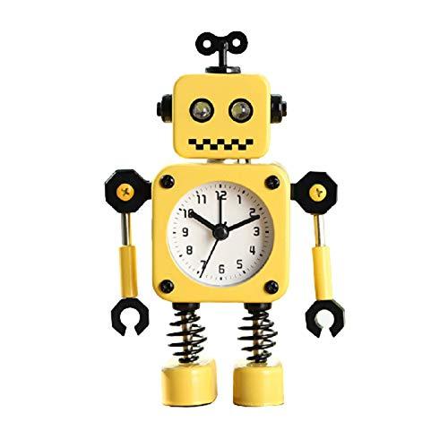 Moda Creatividad Robot Despertador Ligero Mudo Dibujos Animados NiñO Estudiante Cabecera Tiempo De GestióN del Robot Los Ojos BrillaráN Cuando Suene La Alarma,Yellow