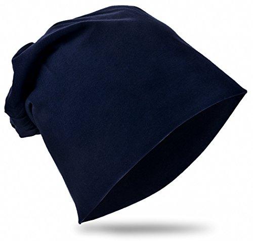 Baby Kinder Jersey Slouch Beanie Long Mütze Unisex Unifarbe Baumwolle Trend, SchwarzbLau, 59-62cm Kopfumfang